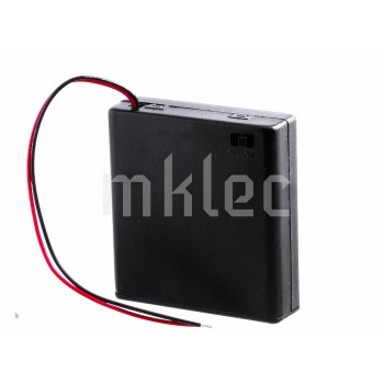 4AA 6V Battery Holder Case With On-Off Switch