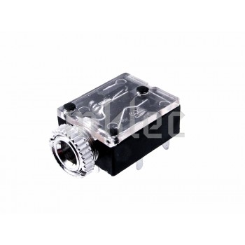 3.5mm Stereo Headphone Switched Jack with Nut - Clear Top