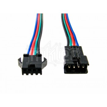 JST 4-pin Black Snap Connector Pair With Wire Leads - RGB