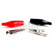 27mm Red Black Alligator Clips - 1 Pair