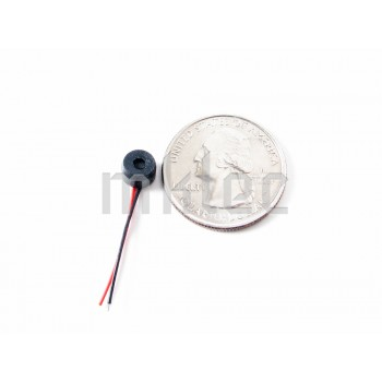 Miniature 6mm 52dB Electret Microphone with Leads and Rubber Gromet