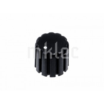 17mm Grooved Black Plastic Potentiometer Knob - Knurled Shaft